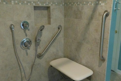 Ithaca accessible bathroom, fold down shower bench