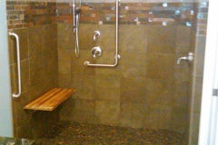Ithaca curbless shower, teak shower bench
