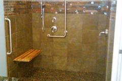 Ithaca curbless shower, teak shower bench