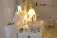 Accessible bathroom, wheelchair accessible sink, tilt down mirror