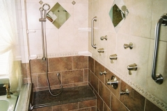 Accessible Shower, bathseat, custom tile