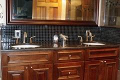 Bathroom with double sink, custom tile