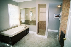Bathroom design, glass shower enclosure