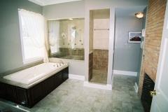 Bathroom design, glass shower enclosure
