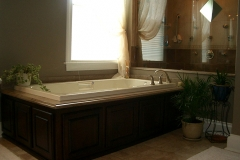 Bathroom design, whirlpool tub, granite tub surround